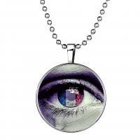 Zinklegierung Schmuck Halskette, mit Glas Edelstein & Edelstahl, Zeit Edelstein Schmuck & unisex, violett, 600mm,33mm, 3PCs/Menge, verkauft von Menge