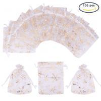 Schmuck Kordelzugbeutel, Organza, Kunstdruck, weiß, 120x100mm, 100PCs/Tasche, verkauft von Tasche