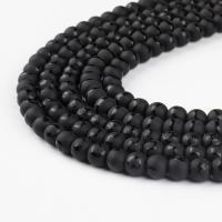 Natürliche schwarze Achat Perlen, rund, schwarz, 4x4x4mm, 48/Strang, verkauft von Strang
