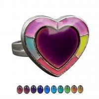 Zinklegierung Fingerring , Herz, silberfarben plattiert, einstellbar & für Frau & Emaille Stimmung, frei von Nickel, Blei & Kadmium, 18.50x16.50mm, verkauft von PC