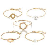 Zinklegierung Armband, goldfarben plattiert, für Frau, frei von Nickel, Blei & Kadmium, 20mm,25mm,22mm,7mm, 5SträngeStrang/setzen, verkauft von setzen
