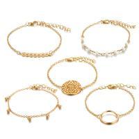 Zinklegierung Armband, goldfarben plattiert, für Frau, frei von Nickel, Blei & Kadmium, 35mm,25mm22mm, 5SträngeStrang/setzen, verkauft von setzen