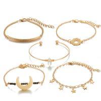 Zinklegierung Armband, goldfarben plattiert, für Frau, frei von Nickel, Blei & Kadmium, 50mm,20mm,15mm,25mm, 5SträngeStrang/setzen, verkauft von setzen