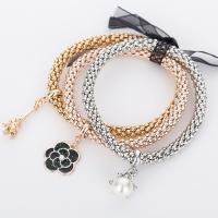 Zinklegierung Armband, Armband, mit elastischer Faden, plattiert, für Frau, frei von Nickel, Blei & Kadmium, 70mm, Länge:ca. 2.75 ZollInch, verkauft von setzen