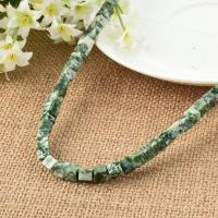 grüner Punkt Stein Perle, Würfel, poliert, natürliche & DIY, grün, 6x6mm, ca. 65PCs/Strang, verkauft von Strang