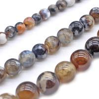 Natürliche Drachen Venen Achat Perlen, poliert, DIY & verschiedene Größen vorhanden, Kaffeefarbe, verkauft von Strang