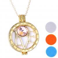 Parfüm Medaillon Halskette, Zinklegierung, mit Strass, unisex, goldfarben, 600mm+50mm,35mm, 3PCs/Menge, verkauft von Menge