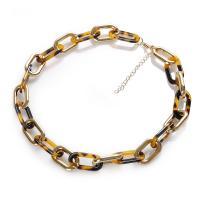 Mode-Halskette, Acetat-Blatt, mit Acryl, plattiert, für Frau, keine, 450mm, verkauft von PC