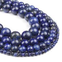 Lapislazuli Perlen, rund, poliert, tiefblau, 4x4x4mm, 98/Strang, verkauft von Strang