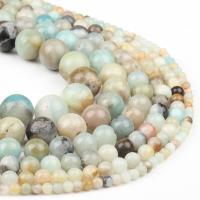 Amazonit Perlen, rund, poliert, gemischte Farben, 4x4x4mm, 98PC/Strang, verkauft von Strang