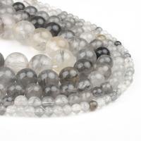 Natürlicher Quarz Perlen Schmuck, Cloud-Quarz, rund, poliert, weiß und schwarz, 4x4x4mm, 98PC/Strang, verkauft von Strang