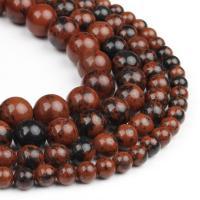 Mahagoni Obsidian Perlen, mahagonibrauner Obsidian, rund, poliert, Laterit, 6x6x6mm, 63PC/Strang, verkauft von Strang