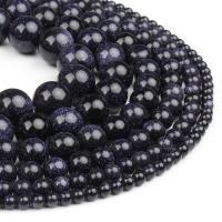 Blaue Goldstein Perlen, blauer Goldsand, rund, poliert, tiefblau, 4x4x4mm, 98PC/Strang, verkauft von Strang