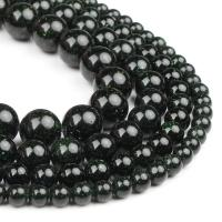 Grüne Goldstein Perlen, grüner Goldsandstein, rund, poliert, dunkelgrün, 6x6x6mm, 63PC/Strang, verkauft von Strang