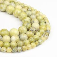 Türkis Perlen, Olivin Türkis, rund, poliert, gelb, 6x6x6mm, 63PC/Strang, verkauft von Strang