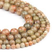 Unakit Perlen, Unakite, rund, poliert, braun, 6x6x6mm, 63PC/Strang, verkauft von Strang