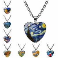 Zeit Gem Jewelry Halskette, Lampwork, mit Zinklegierung, Herz, plattiert, Zeit Edelstein Schmuck & unisex & verschiedene Stile für Wahl, 55x25mm, verkauft von PC