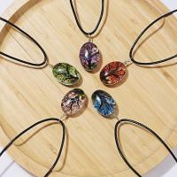 Zeit Gem Jewelry Halskette, Glas Edelstein, mit Getrocknete Blumen & Lederband, keine, verkauft von PC