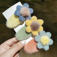 Klick Klack Spange, Plüsch, Blume, für Frau, keine, 80mm, 5PCs/Menge, verkauft von Menge