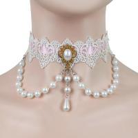 Kragen Halskette, Spitze, mit Kunststoff Perlen, plattiert, für Frau, Rosa, 300mm, verkauft von Strang