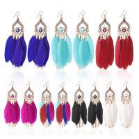 Mode-Feder-Ohrring, Zinklegierung, mit Feder, plattiert, für Frau, keine, frei von Nickel, Blei & Kadmium, 120x22mm, verkauft von Paar