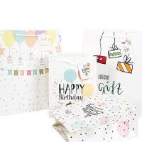 Mode Geschenkbeutel, Papier, Rechteck, Kunstdruck, gemischtes Muster & verschiedene Größen vorhanden, weiß, 50PCs/Menge, verkauft von Menge