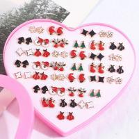 Weihnachten Ohrringe, Kunststoff, goldfarben plattiert, unisex & Emaille, 36PaarePärchen/setzen, verkauft von setzen