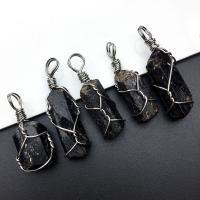 Schörl Anhänger, handgemacht, natürliche, schwarz, (28~38)*(10~15)mm, verkauft von PC