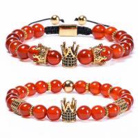Roter Achat Armbänder, goldfarben plattiert, unisex & verschiedene Stile für Wahl & Strahlenschutz & Micro pave Zirkonia, keine, 8mm, Länge:ca. 7.1 ZollInch, 2SträngeStrang/Menge, verkauft von Menge