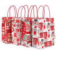 Mode Geschenkbeutel, Kraftpapier, Rechteck, Kunstdruck, gemischtes Muster & verschiedene Größen vorhanden, rot, 50PCs/Menge, verkauft von Menge