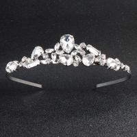 Krone, Zinklegierung, plattiert, für Braut & mit Strass, Silberfarbe, frei von Nickel, Blei & Kadmium, 135x35mm, verkauft von PC