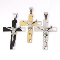 Titan -Anhänger, Titanstahl, Kreuz, plattiert, unisex & verschiedene Stile für Wahl, keine, 34x54mm, Länge:ca. 23.6 ZollInch, 3PCs/Menge, verkauft von Menge
