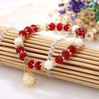 Kristall Armbänder, mit Verkupferter Kunststoff, plattiert, für Frau, mehrere Farben vorhanden, 70mm, verkauft von Paar
