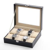 Uhr Schmuckkasten, PU Leder, mit Baumwollsamt & Glas, unisex, schwarz, 250x200x80mm, verkauft von PC