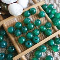 Natürliche grüne Achat Perlen, Grüner Achat, rund, DIY & halbgebohrt, 10mm, Bohrung:ca. 3mm, verkauft von PC