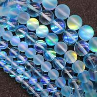 Runde Kristallperlen, Mondstein, DIY & verschiedene Größen vorhanden, seeblau, verkauft per ca. 15 ZollInch Strang