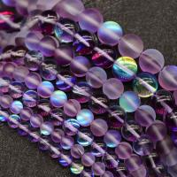 Runde Kristallperlen, Mondstein, DIY & verschiedene Größen vorhanden, dunkelviolett, verkauft per ca. 15 ZollInch Strang