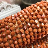 Goldstein Perlen, Goldsand, DIY & verschiedene Größen vorhanden & facettierte, rote Orange, verkauft per 15 ZollInch Strang