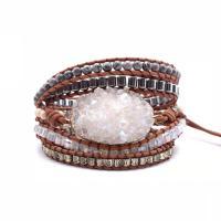 Wrap Armband , Lederband, mit Naturstein & Zinklegierung, unisex, gemischte Farben, 950mm, verkauft von PC