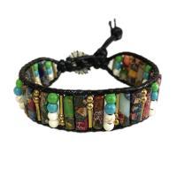 Wrap Armband , Lederband, mit Achat & Zinklegierung, unisex, gemischte Farben, 250mm, verkauft von PC