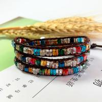 Wrap Armband , Lederband, mit Kristall & Zinklegierung, unisex, gemischte Farben, 610mm, verkauft von PC