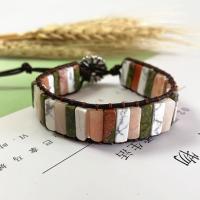 Wrap Armband , Lederband, mit Impression Jaspis & Zinklegierung, unisex, gemischte Farben, 250mm, verkauft von PC