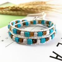 Wrap Armband , Lederband, mit Achat & Zinklegierung, unisex, gemischte Farben, 420mm, verkauft von PC