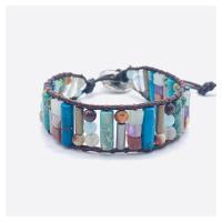 Wrap Armband , Lederband, mit Naturstein & Zinklegierung, unisex, gemischte Farben, 250mm, verkauft von PC