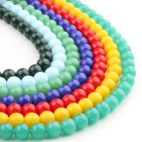 Mode Glasperlen, rund, Volltonfarbe, keine, 8x8x8mm, 48PC/Strang, verkauft von Strang