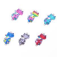 Tier Zinklegierung Schmuckverbinder, Katze, plattiert, DIY & für Frau, gemischte Farben, frei von Nickel, Blei & Kadmium, 30x16x2mm, verkauft von PC
