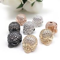 Befestigte Zirkonia Perlen, Messing, Schädel, plattiert, DIY & verschiedene Stile für Wahl & Micro pave Zirkonia, keine, frei von Nickel, Blei & Kadmium, verkauft von Tasche