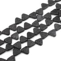 Natürliche Lava Perlen, Dreieck, schwarz, frei von Nickel, Blei & Kadmium, 13x13mm, 29PCs/Strang, verkauft von Strang