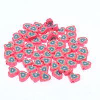 Polymer Ton Perlen , Herz, Fuchsia, frei von Nickel, Blei & Kadmium, 17x14.50x6mm, 1000/Tasche, verkauft von Tasche