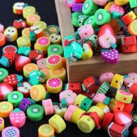 Polymer Ton Perlen , Fruchtentwurf & DIY, gemischte Farben, 10x5mm, 100PCs/Tasche, verkauft von Tasche
